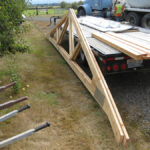 Post-frame trusses waiting to be installed