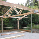 Close-up of trusses, wall framing